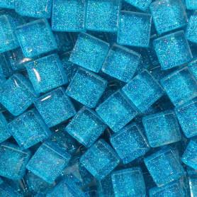 Pâtes de verre pailletées TURQUOISE 1 × 1 cm