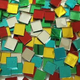 Tesselles de miroir COCKTAIL MULTICOLORE 1 × 1 cm pour mosaïque vendues par 100 g ou 300 g