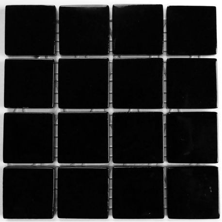 Emaux 24 Noir 2,35 × 2,35 cm vendus à la mini-plaque de 16 carreaux