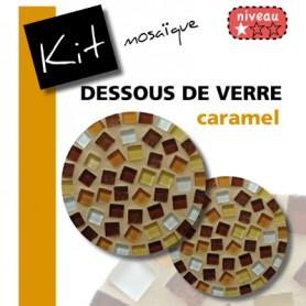 Kit Mosaïque 2 Supports bois Dessous de verre ronds décorés avec des pâtes de verre translucides et pailletées camaïeu marron