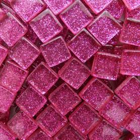 Pâtes de verre pailletées GRENAT rose 1 × 1 cm vendues par 100 g, 300 g et 600 g