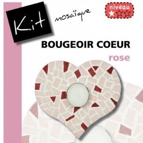 Kit Mosaïque Support bois Bougeoir Cœur décoré avec des Emaux de Briare CAMELIA et QUETSCHE