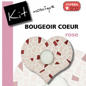 Kit mosaïque Bougeoir CŒUR ROSE