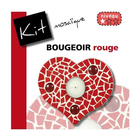 Kit Mosaïque Support bois Bougeoir Cœur décoré avec des Emaux de Briare PIVOINE et 3 billes de verre translucides rouges