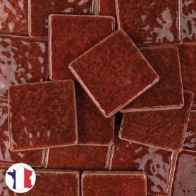 Emaux de Briare couleur TUILE marron rouille brillants pour mosaïque 2,5 × 2,5 cm vendus par 100 g vue de face
