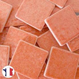 Emaux de Briare couleur ZINNIA corail brillants pour mosaïque 2,5 × 2,5 cm vendus par 100 g vue de face