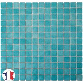 Emaux de Briare BAHAMAS bleu turquoise pour mosaïque 2,5 × 2,5 cm sur filet vendus à la plaque ou par boîte de 9 plaques