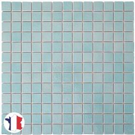Emaux de Briare CALIFORNIE bleu vert d'eau pour mosaïque 2,5 × 2,5 cm sur filet vendus à la plaque ou par boîte de 9 plaques