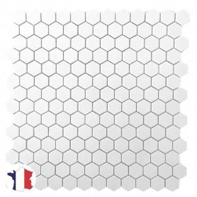 Emaux de Briare Gemmes MUGUET blanc pour mosaïque hexagones de 2,8 cm vendus à la boîte de 12 plaques sur filet