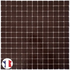 Emaux de Briare CACAO marron foncé brillants pour mosaïque 2,5 × 2,5 cm sur filet vendus à la plaque ou par boîte de 9 plaques