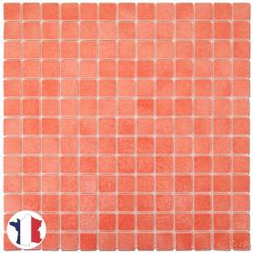 Emaux de Briare ZINNIA corail brillants pour mosaïque 2,5 × 2,5 cm sur filet vendus à la plaque ou par boîte de 9 plaques