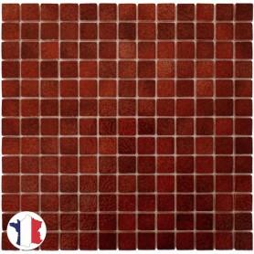 Emaux de Briare TUILE marron rouille brillants pour mosaïque 2,5 × 2,5 cm sur filet vendus à la plaque ou par boîte de 9 plaques