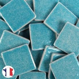 Emaux de Briare couleur BAHAMAS bleu turquoise brillants pour mosaïque 2,5 × 2,5 cm vendus par 100 g vue de face