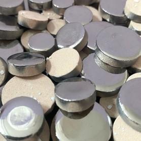 Céramiques Pastilles ARGENT brillant déclassées pour mosaïque