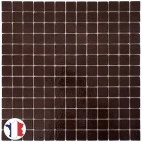 Emaux de Briare CACAO marron foncé brillants pour mosaïque 2,5 × 2,5 cm au m2 vendus par boîte de 9 plaques