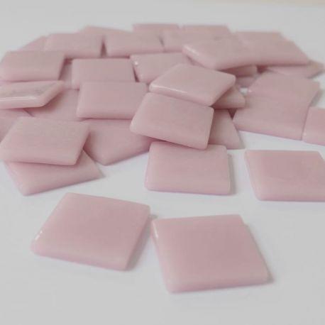 Pâte de verre espagnole unie ROSE DRAGÉE rose clair 2,5 × 2,5 cm