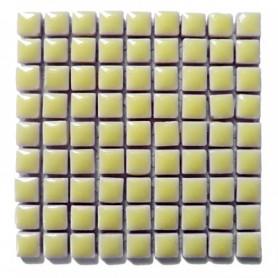 Mini-porcelaine 1 × 1 cm couleur CITRONNADE jaune clair pour mosaïque vendue à la plaque