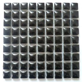 Mini-porcelaine 1 × 1 cm couleur POIVRE noir pour mosaïque vendue à la plaque