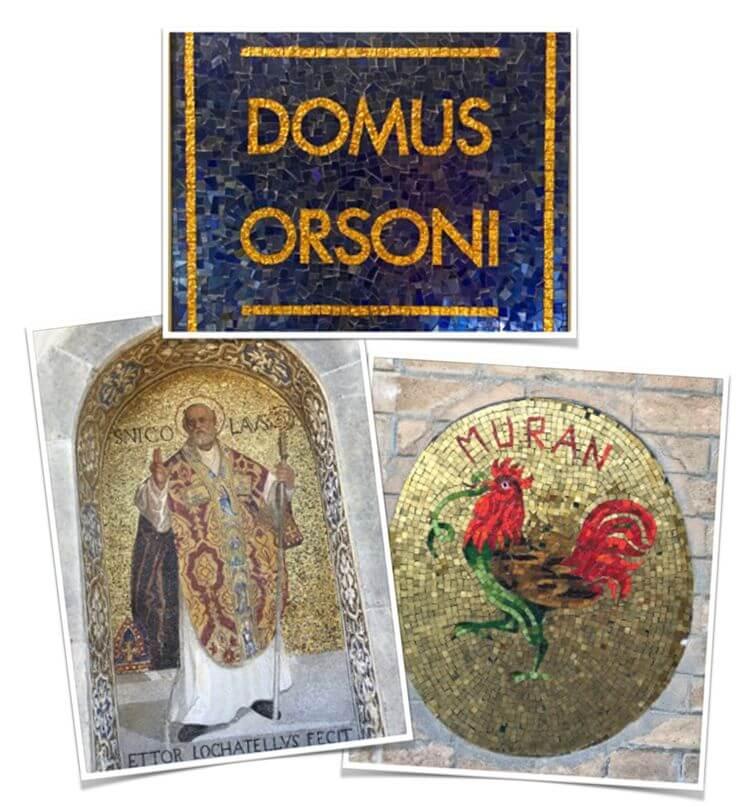 Mosaïque d'Orsoni, Saint Nicolas de la basilique San Marco et Coq de Murano