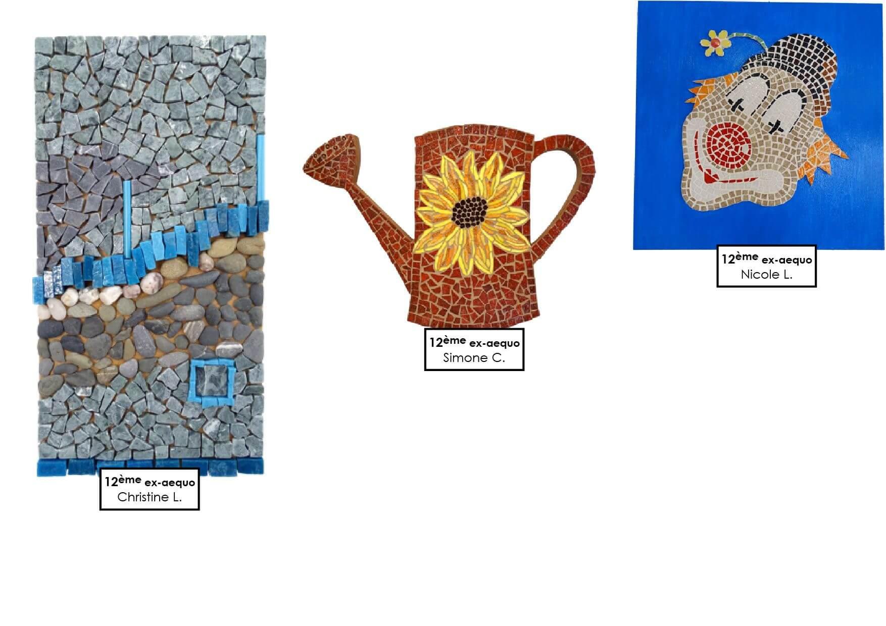 Créations en mosaïque avec galets naturels et verre