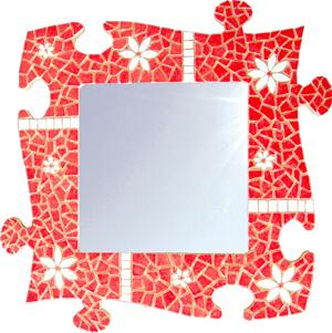 Miroir Puzzle en Emaux de Briare rouge Pivoine et blanc Muguet